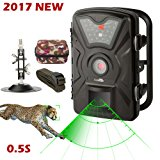 Game Trail Camera 1080P HD 12MP with Sound IP66 Waterproof Scouting Camera with No Glow Black Infrared Night Vision 0.5s Trigger Speed 2.4in LCD Screen for Wildlife Hunting