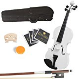 Mendini 16-Inch MA-White Solid Wood Viola with Case, Bow, Rosin, Bridge and Strings