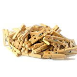 100-Pack of 1 Inch (25mm) Wooden Mini Clothespins. Clips for Photo Paper, Craft pegs, Scrapbooking, DIY projects, wooden baby pins for Banners and baby showers. Natural color wood, unfinished.
