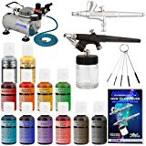 Complete Master Airbrush Cake Decorating Set – with 12 Chefmaster Airbrush Cake Color Set .7 fl oz that is FDA approved and a (FREE) How to Airbrush Instructional Guidebook
