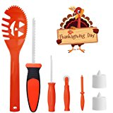 SKINOSM Thanksgiving Pumpkin Carving Kit for Kids 5 Easy Halloween Pumpkin Carving Tools Set 2 LED Candles & 10 Carving Templates