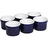 Home Essentials Set of 6 Mini Stoneware Hobnail 4 oz Ramekins - Textured Porcelain, Mousse, Creme Brulee, Custard Cups, Baking, Souffles, Quiche Cups, Cobalt - 4 Inches