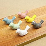 SunKni 6Pcs Ceramic Knobs for Drawer Cabinet Dresser, Animal Handles Pulls for Closet Wardrobe Cupboard Kitchen Door Furniture with Free Screws New Sets Pack of 6 Different Colors (Pigeon)
