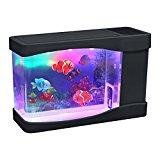 Lightahead Artificial Mini Aquarium Fish Tank Multi Color LED Swimming Fish Tank with Bubbles