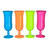 Set of 4 - Plastic Hurricane Glass Luau Party Cup Tumbler, 16 oz.