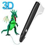 Tecboss 3D Drawing Pen, M1 Adults Kids, 3D Printer Printing Pen - USB Power, 2PCS Filament Refills, PLA and PCL Compatible - Black