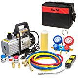 XtremepowerUS 4CFM Air Vacuum Pump HVAC A/C Refrigeration Kit AC Manifold Gauge Set w/ Leak Detector