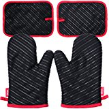 DEIK Oven Mitts and Potholders 4 Pieces, Heat Resistant Kitchen Mitts with Cotton Lining, Non-slip Silicone Potholder for Cooking, Baking, Grilling, Holding Pot, Black