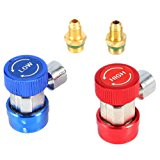 BaiFM AC Air Condition R134A Quick Coupler Adapters Adjustable Freon System Low/High Manifold