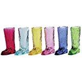 Circleware Kickback Assorted Colors Cowboy Boot Shot Glasses, Set of 6, 1.5 oz.
