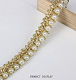 5yards Beaded Pearl White Gold Trimming Lace Ribbon Trim Scrapbooking Applique Embellishment Sewing Renda for Wedding Dress /t1224