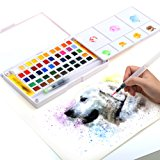 Watercolor Paint Set - 48 Assorted Watercolors - Travel Watercolor Kit Includes 2 Water Brushes - 2 Sponges & A Mixing Palette