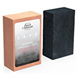 [USA] SAPO Organic Bamboo Charcoal Soap Bar - Natural US Handmade - Helps with Acne, Psoriasis, Eczema - Has Coconut Oil, Oatmeal, Shea Butter - Leaving Your Face and Body Fresh and Clean