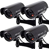 Masione 4 PACK OUTDOOR FAKE / DUMMY SECURITY CAMERA w/ Blinking Light CCTV SURVEILLANCE (Black)