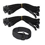 LJY 16-Pack Hook and Loop Straps Nylon Cable Ties Organizer Fastener, 11.8 in x 0.98 in, Black