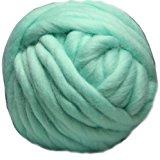 Merino Wool Super Chunky Yarn- Bulky Roving Yarn for Finger Knitting,Crocheting Felting,Making Rugs Blanket and Crafts by FLORAKNIT (Ice Green, Medium-20mm 0.55LB)