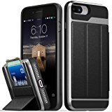 iPhone 8 Plus Wallet Case, iPhone 7 Plus Wallet Case, Vena [vCommute][Military Grade Drop Protection] Flip Leather Cover Card Slot w/ KickStand for Apple iPhone 8 Plus / 7 Plus (Space Gray / Black)