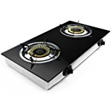 XtremepowerUS Deluxe Propane Gas Range Stove 2 Burner Tempered Glass Cooktop Auto Ignition