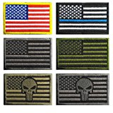 Bundle 6 pieces USA American Thin Blue Line Police Flag Tactical Fully Embroidered Morale Tags Patch
