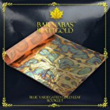 Barnabas Blattgold - Variegated Gold Leaf Sheets, Professional Quality, Color - Blue, 25 Sheets, 5.5 inches Booklet