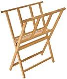 Displays2go Beech Wood Print Rack for Artwork Storage, X-Frame Design