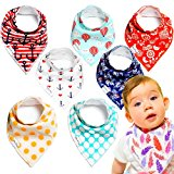 Baby Bandana Drool Bibs - 100% Natural Organic Cotton with Fleece Back - Unisex 8-Pack Gift Set with Vibrant Fashionable Designs for Boys and Girls | by So Peep