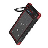 [Upgrade] OUTXE 16000mAh Rugged Power Bank with Flashlight IP67 Waterproof Solar Portable Charger Outdoor Dual USB Phone Battery Pack