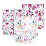 """Baby Burp Cloth Large 21''x10'' Size Premium Absorbent Triple Layer 3 Pack Gift Set For Girls """"Bloom Set"""" by Copper Pearl"""