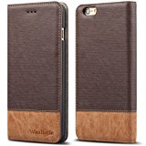"""iPhone 6/6s 4.7"""" Case,WenBelle Blazers Series,Stand Feature,Double Layer Shock Absorbing Premium Soft PU Color matching Leather Wallet Cover Flip Cases For apple iPhone 6 6s 4.7 inch Classic Brown"""