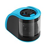 Pencil Sharpener UrBen Electric Pencil Sharpener with Double Holes/Auto-Stop Feature and Replaceable Blades for School Classroom Office Home Artists Students (No Cord)-Blue