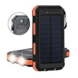 20000mAh Solar Power Bank Solar Charger Waterproof Portable External Battery USB Charger Built in LED light with Compass for iPad iPhone Android Cellphones (Black & Orange)