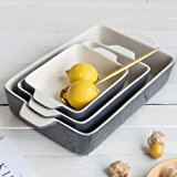 Bakeware Set, Krokori Baking Pan Ceramic Glaze Baking Dish for Cooking, Kitchen, Cake Dinner, Banquet and Daily Use - ( Random Color, 3PCS of Rectangular)