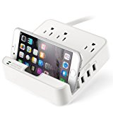 UL LISTED Charger Station - EZOPower Desktop Charging Power Strip Surge Protector with 3 AC Outlets, 3 USB Port 6.3A and Built-in Phone / Tablet Holder Stand Slot for iPhone, iPad, Tablet - White