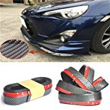 Universal PU Carbon Fiber Front Bumper Lip Splitter Chin Spoiler Body Trim (8ft)