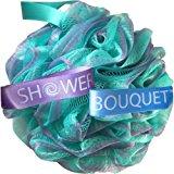 Loofah Bath Sponge Swirl Set XL 75g by Shower Bouquet: Extra Large Mesh Pouf (4 Pack Color Swirls) Luffa Loofa Loufa Puff Scrub - Big, Full Lather Cleanse - Exfoliate with Beauty Bathing Accessories