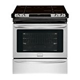 "Frigidaire FGIS3065PF 30"" Slide-In Electric Range with Induction Technology True Convection Oven Temperature Probe and Steam Cleaning in Smudge-Proof Stainless Steel with Black"