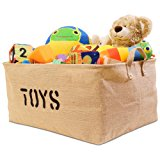 "Organizerlogic Storage Baskets - 22 x 15 x 10"" - XL Storage Bins for Organizing Nursery, Baby, Toys, Clothes, Kids Room, Pets, Laundry, Gift, Dog Toys - Woven Fabric Jute Basket"