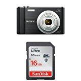 Sony DSCW800/B 20.1 MP Digital Camera (Black) and SanDisk 16GB Class 10