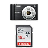 Sony DSCW800/B 20.1 MP Digital Camera (Black) and SanDisk 16GB Class 10