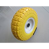 "Kunhua 11-pu-y-dh-16p 4.10/3.50-4"" Flat Free Hand Truck/utility Tire , 2.25"" Offset Hub, 5/8"" Ball Bearings, 10"" Tire Diameter,knobby Tread"
