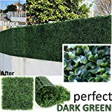 """Genpar Artificial Boxwood Hedge Covers 33 SQ feet 12 Panels (20"""" x 20"""") UV Protection 15 Years Life Span Indoor Outdoor Greenery Topiary for Home Backyard Garden Decoration Privacy Fence (Dark Green)"""