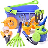 Kid's Garden Tool Toy Set Beach with Wagon Birthday Party Gardening Educational Play Set with Watering Can, Shovels, Rakes, Bucket, Spray Bottle, Scissor, and 4 Castle Molds Packaged - 15pcs