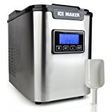 Upgraded NutriChef Portable Digital Ice Maker Machine | Stainless Steel Stain Resistant | Countertop Ice Maker W/ Built-In Freezer | Over-Sized Ice Bucket | Ice Machine W/ Easy-Touch Buttons - Silver