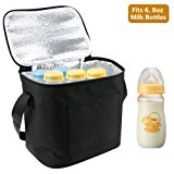 Breast Milk Baby Bottle Cooler Bag, Homga Breastmilk Insulated Cooler Tote Storage w/ Air Tight Lock in the Cold & Preserve Important Nutrients (Fits up to 6 Large 8Oz. Bottles) (Black)