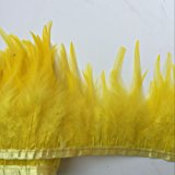 Shekyeon 2yards Rooster Hackle Feather Trim Dress Decoration(yellow)