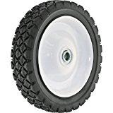 Shepherd Hardware 9592 7-Inch Semi-Pneumatic Rubber Tire, Steel Hub with Ball Bearings, Diamond Tread, 1/2-Inch Bore Centered Axle
