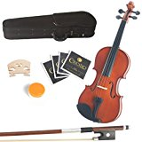 Mendini 14-Inch MA250 Natural Varnish Solid Wood Viola with Case, Bow, Rosin, Bridge and Strings