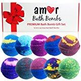 AMOR 10 Bath Bomb Gift Set : Essential Oils Lush Bath Bombs Set In Deluxe Package/100% Organic Vegan USA -Handmade Bath Fizzies Spa Skin Hydration & Wellness / Great Gifting Idea kids bath bombs