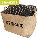 """OrganizerLogic 2 Jute STORAGE Bins 17"""" Long   large enough for Toy Storage   Storage Basket for organizing Baby Toys, Kids Toys, Baby Clothing, Children Books, Gift Baskets."""