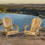 Denise Austin Home Milan Brown Outdoor Folding Wood Adirondack Chair (Set of 2)